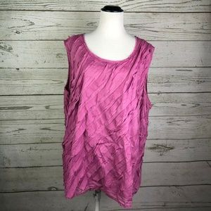 Talbots Rose Pink Diagonal Tiered Shell Tank Top